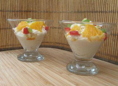 Mousseline de coco, fruits géranium