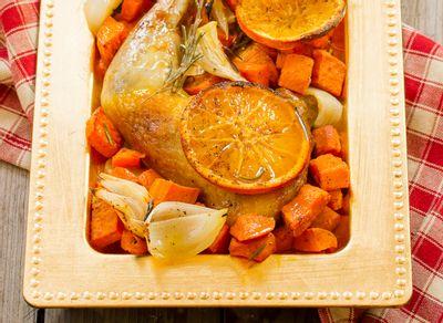 cuisses de pintade à l'orange et patates douces virginie conan