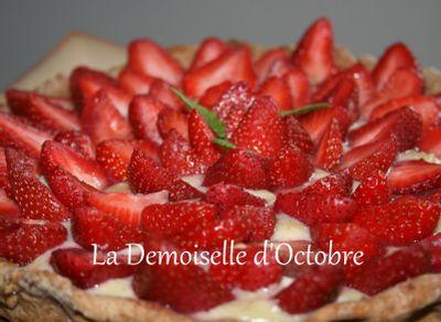 Tarte aux fraises et à la crème pâtissière par La Demoiselle d'Octobre