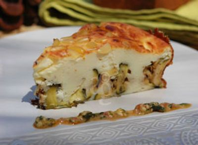 Gâteau aux fromages & courgettes grillées – Pesto de basilic à la tomate fraiche par Carole Altergusto