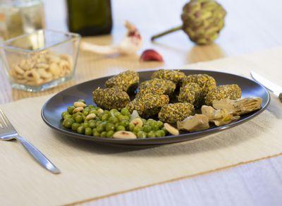 Recette gnocchi de lentilles vertes du Puy, petits pois et artichauts grillés aux amandes