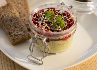 Recette verrines de crème de flageolets au sésame noir, caviar de betteraves rouges