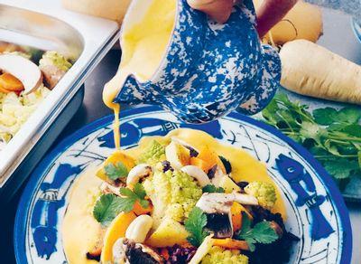 Curryde légumes et riz noir