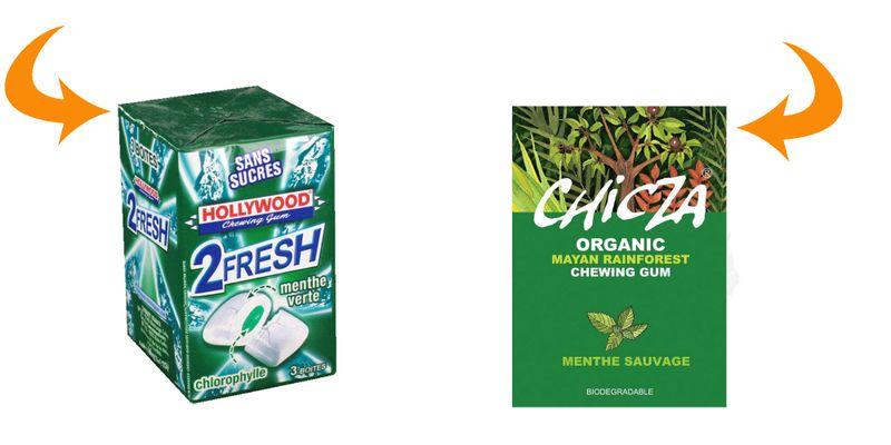 chewing gum menthe hollywood gélatine de porc