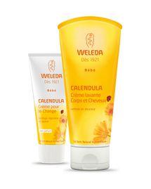 Crème de change et crème lavante corps et cheveux pour bébé de Weleda