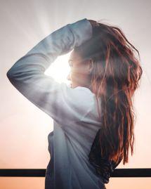 femme, soleil