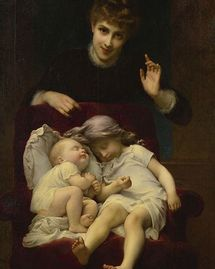 Motherhood peinture Adolphe Piot [Public domain]