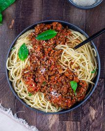 Spaghettis à la bolognaise de lentilles