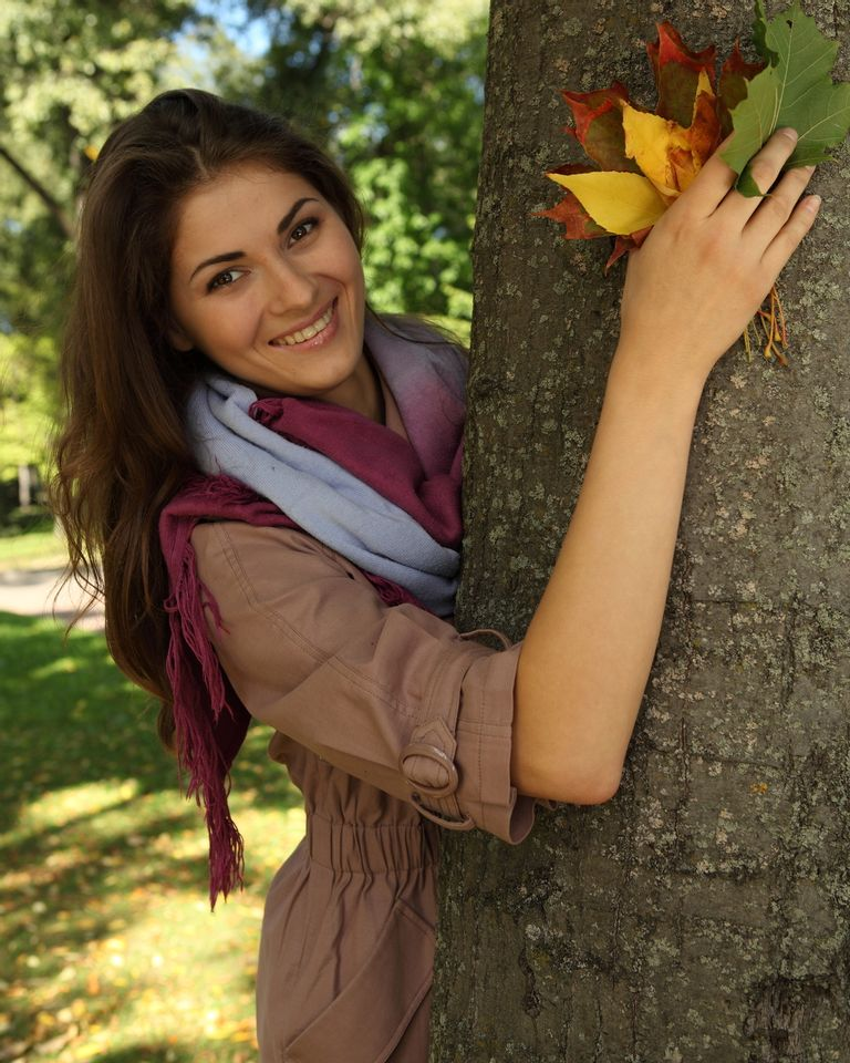 femme nature automne