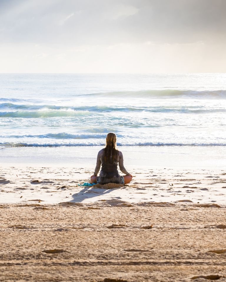 yoga, mer, plage, énergie