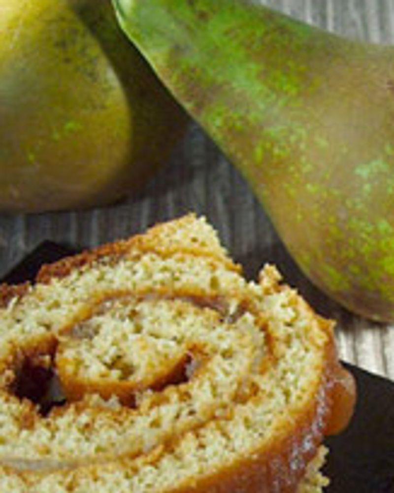 Bûche de noël sans gluten, poire et crème de châtaigne