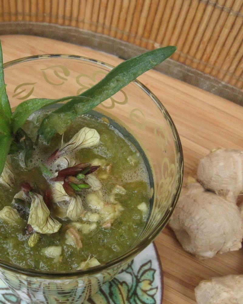 Potage printanier fèves et fanes de radis à l'estragon, flocons de pois cassés