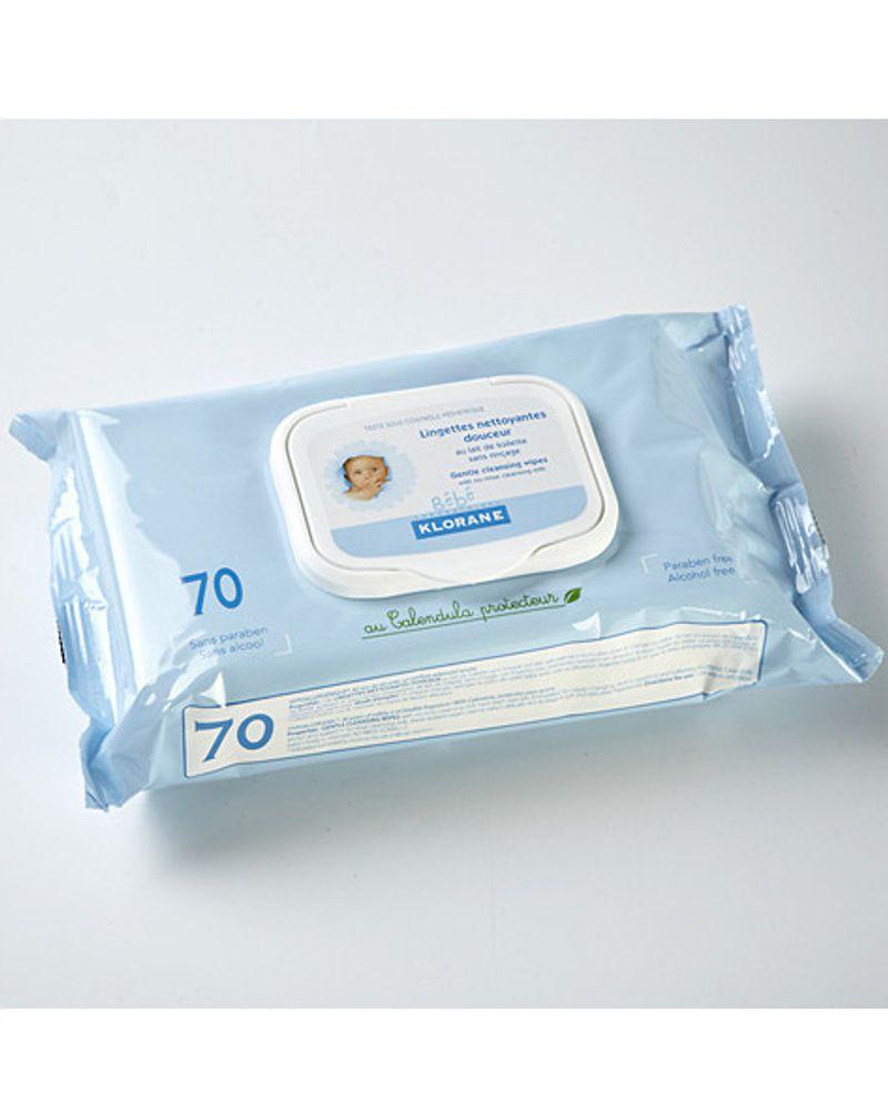 Lingettes nettoyantes douceur Klorane pour bébé
