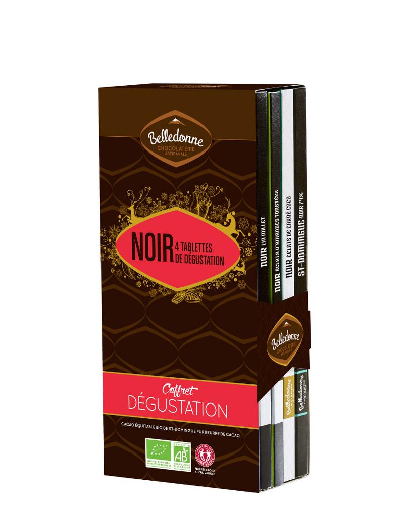 Coffret dégustation 4 tablettes de chocolat noir, Belledonne