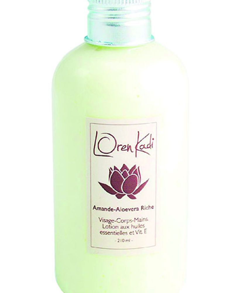 "Loren Kadi, lotion ayurvédique naturelle ""Amande-Aloe vera riche"""