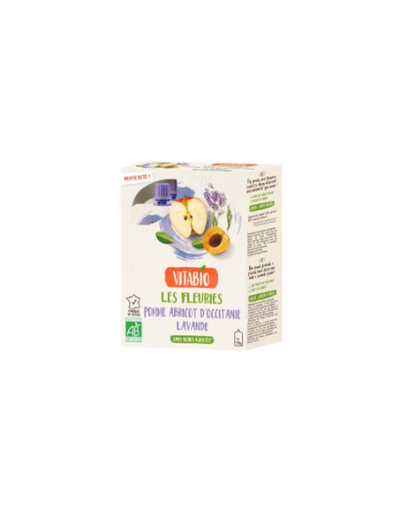 Gourdes fleuries pomme, abricot, lavande, Vitabio