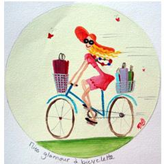 Miss glamour à bicyclette